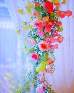 スイトピーの壁飾り ブーケ 春 アレンジ