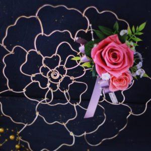 薔薇 壁飾り ワイヤーワーク