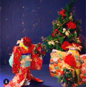 クリスマスバージョンの着物ドール