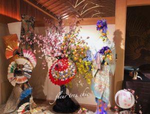 八芳園白鳳館にて桜&着物ドールリウムオブジェ