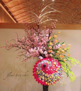 八芳園白鳳館にて桜オブジェ