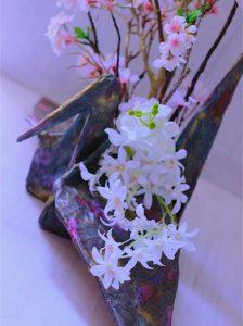 柿渋と和紙でつくる花器