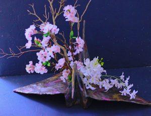 備前焼風 鶴の花器